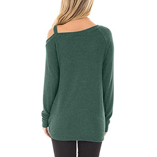 Verde Knot Liquidazione Camicie Spalla Lungo Sportive Corta Donna Di Vendita Felpe Hulky shirt E Solid Casual Shirt T Off T Camicette Cime manica Tuniche Donne Twist Eq46nH
