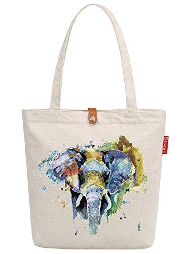 So'each Women's Elephant Art Painting Graphic Top Handle Canvas Tote Shoulder Bag