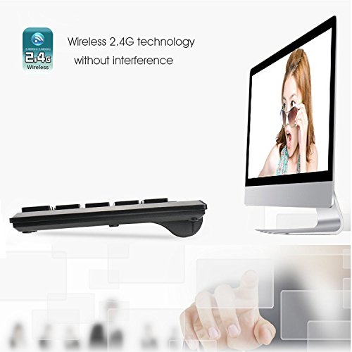 Rii RK700 2.4Ghz Ultra-slim Wireless Keyboard and Mouse Combo Multimedia Compact Keyboard and Mouse For PC Laptop,Desktop,Raspberry Pi KODI HTPC XBMC Macbook Android TV Box Smart TV,Windows by Rii (Image #4)
