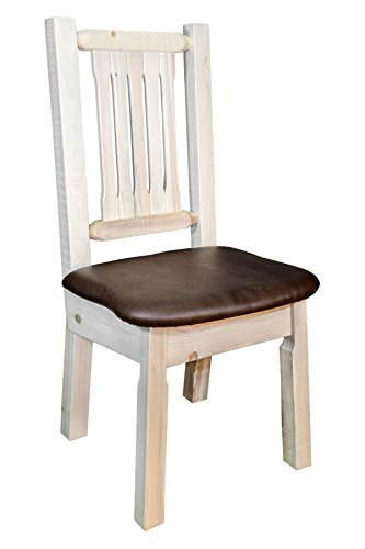 (Montana Woodworks MWHCKSCNVSADD Homestead Collection Dining Side Chair, Clear Lacquer Finish with Upholstered Seat, Saddle Pattern)