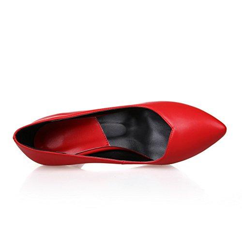 Scarpe Da Donna A Punta Chiusa Con Punta A Punta E Scarpe Da Donna Amoonyfashion Con Lo Stile Delle Curve E Il Rosso Brunito
