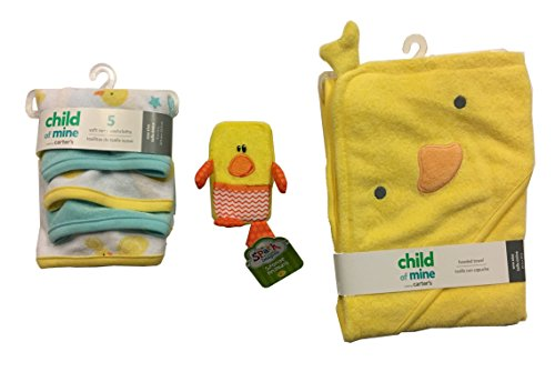 Newborn Gift Set~Duck Hooded Towel, Washcloths, and Duck Sponge