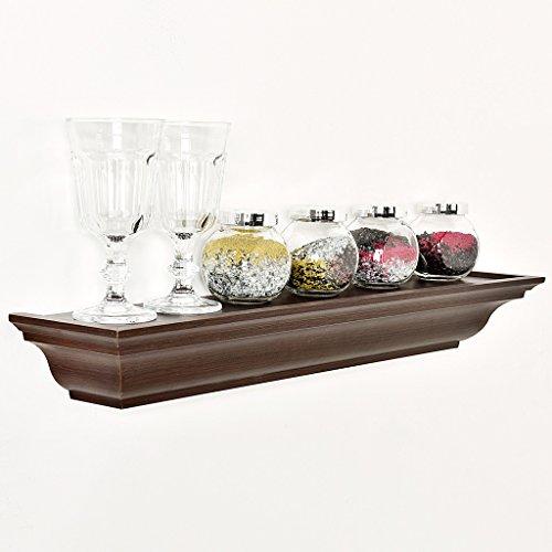 [WELLAND Traditional Crown Molding Wall Shelf, 24-Inch, Espresso] (Traditional Mantel)