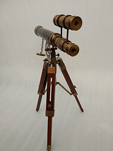 Double Barel Victorian London (1915) 14'' Brass Telescope on Tripode Stand Antique Home Decor Table Top. by US HANDICRAFTS (Image #3)