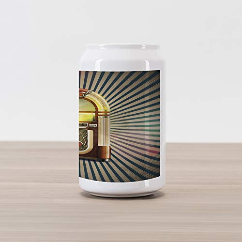 Ambesonne Jukebox Cola Can Shape Piggy Bank, Retro Vintage 50s Pin Up Inspired Striped Backdrop Old Music Box, Ceramic Cola Shaped Coin Box Money Bank for Cash Saving, Brown Beige and Petrol Green