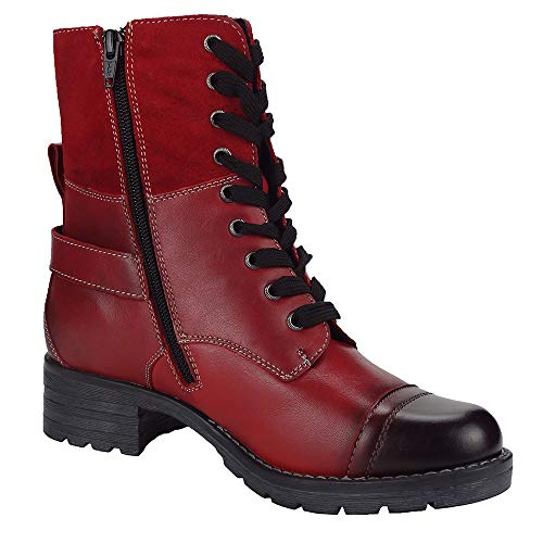 ROYAL ALDO Women's Deedee Boots, Zipper, Lace-up, Adjustable Rear Buckle, High End Leather Boot (Size 8)