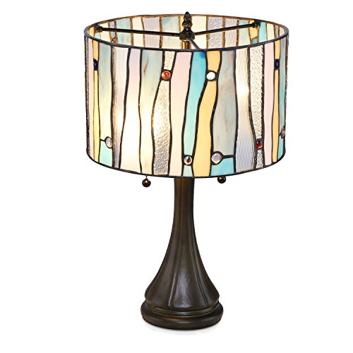 Serena D'italia Tiffany Style Table Lamps Contemporary, Mosaic Stained Glass Lamp, Antique, Victorian, Vintage Styling, Double Pull Chain (Blue, White, Yellow) - Glass Stained Glass Table Lamp