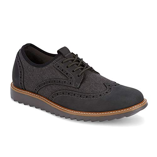 Dockers Mens Hawking Knit/Leather Smart Series Dress Casual Wingtip Oxford Shoe with NeverWet, Charcoal, 9.5 M