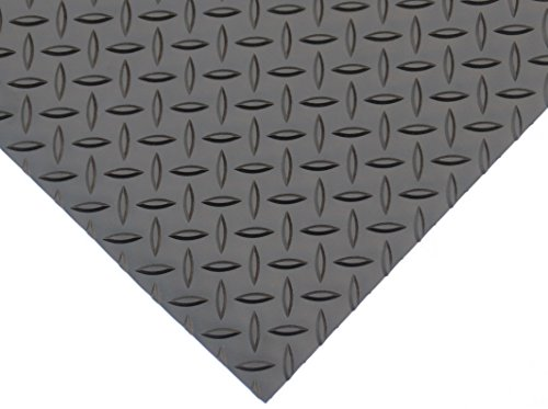 "Rhino Mats DV48X2 Diamond Plate Rubber Flooring, Rubber, 1/8"" Thickness, Matt black"