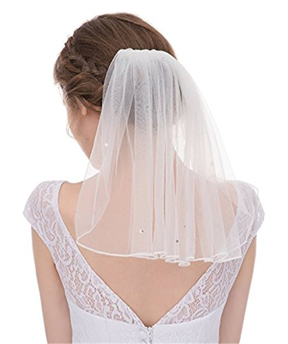 Fishlove Ribbon Edge Comb Tulle Bridal Wedding Veil With Blusher Singer Tier (Short Veil)