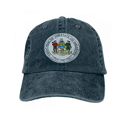 Unisex Flat Bill Hip Hop Cap Baseball Hat Head-Wear Cotton Trucker Hats State Seal Delaware USA d rendeNavy Navy