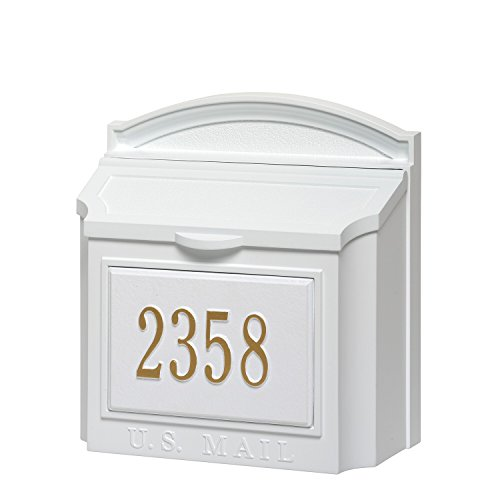 - Whitehall Custom Wall Mount Mailbox Package - House Number and Street Name - Sand Cast Aluminum - White Personalized in Goldtone