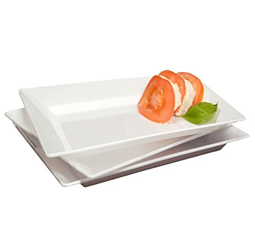 White Premium Plastic Rectangle Salad Plates Party Accessory