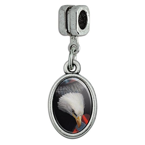 Graphics and More American Flag Bald Eagle Forever Free Italian European Style Bracelet Oval Charm Bead Eagle Italian Charm Bracelet