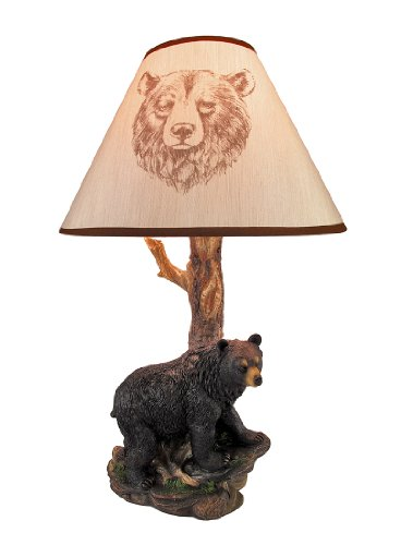 Black Bear and Tree Table Lamp with Shade 20 In. ()