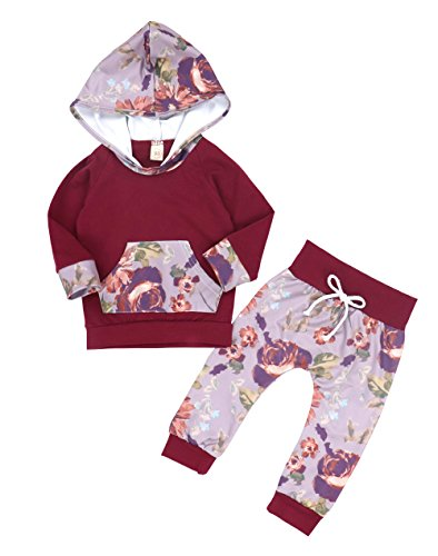 Oklady Christmas Baby Girls Florals Outfit Clothes Set Long Sleeve Hoodie Sweatshirt With Pocket, Wine Red, 6-12 - Christmas Cute Outfits Simple