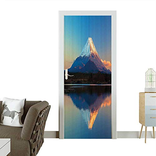 Door Sticker llecti Mount Fuji and Lake Shoji Clear Sky Sun Removable Door Decal for Home DecorW38.5 x H79 INCH