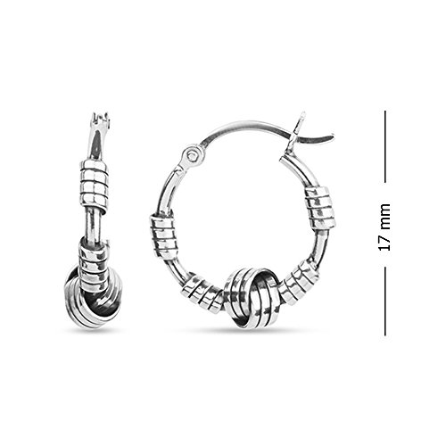 LeCalla Sterling Silver Jewelry Italian Design Bali Style Love Knot Ring Hoop Earrings for Kids and Girls by LeCalla (Image #3)