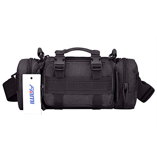 Pouch Waist Pack Utility (FAMI Utility 3P Military Tactical Duffle Waist Bags Tactical MOLLE Assault Backpack Multifunction Pockets Small EDC for Camping Hiking Trekking Riding (Black))
