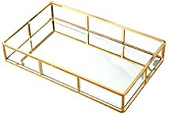 PuTwo Tray Mirror, Gold Mirror Tray Perf...