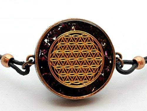 ZZYBIA Flower of Life Orgone Pendant EMF protection with Garnet