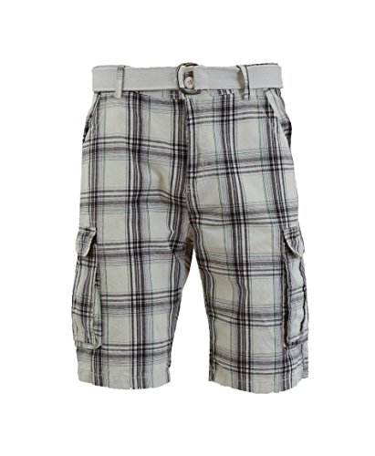 - Galaxy by Harvic Men's Plaid Belted Cargo Shorts