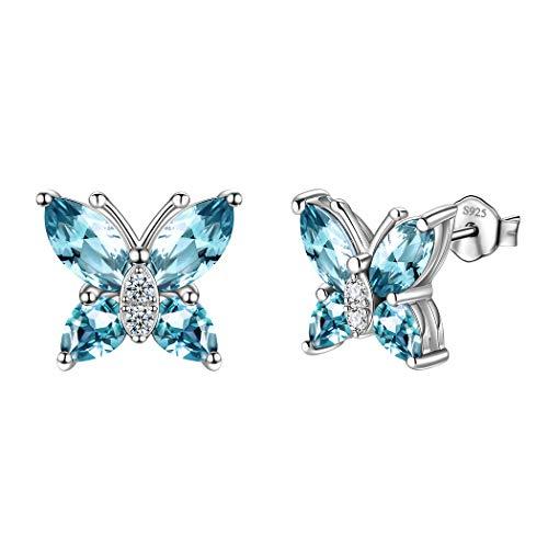 Blue Butterfly Earrings - 925 Sterling Silver Crystal Butterfly Blue Stud Earring For Women Minimalist Butterflies Studs Earrings Gift For Girls Dating Wedding/Bridal Jewelry DE0078B
