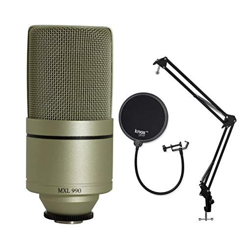 MXL 990 Condenser Microphone with Shockmount, Knox Gear Boom Arm and Pop Filter