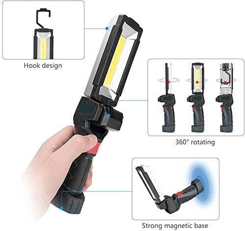 Lanterne Ultra-Brillante /à 5 Modes d/éclairage pour latelier de Bricolage Lampe Portative dinspection Rechargeable par USB avec Base Magn/étique Coquimbo Lampe de Travail COB de Poche LED