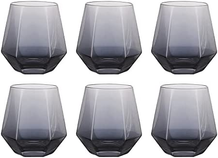 REHON 300ml Diamond Whiskey Glasses Set, Clear Geometric Fashioned Water Juice Tumbler Tilted Scotch Glassware Modern Look Glassware for Glass for Juice, Whiskey, Scotch, Bourbon,Grey-6