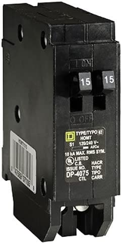 Square D by Schneider Electric HOMT1515CP Homeline 2-15 Amp Single-Pole Tandem Circuit Breaker