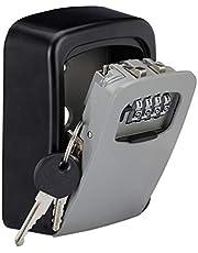 Relaxdays Sleutelkluis, 4-cijferige cijfercode, sleutelsafe voor wandmontage, buiten, HxBxD 11,5x9x4 cm, zwart/grijs, 1 stuk