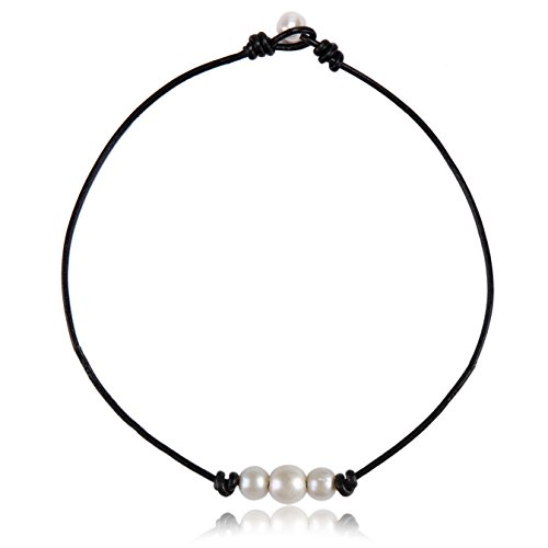 Aa+ Natural Pearl Necklace - White Pearl Choker on Black Leather Cord with 3 AA Quality Beads Necklace for Girls