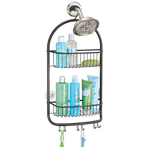 mDesign Modern Metal Bathroom Tub and Shower Caddy, Hanging Storage Organizer Center - 6 Built-in Hooks, 2 Baskets - Bathroom Shower Stalls, Bathtubs - Bronze