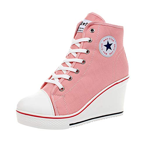 Padgene Women's Sneaker High-Heeled Fashion Canvas Shoes High Pump Lace UP Wedges Side Zipper Shoes (5 US, Pink) (High Shoes Canvas)