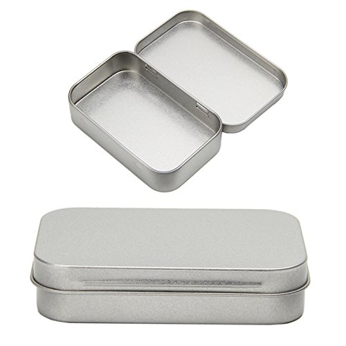 Tangc Small Metal Tin Silver Flip Storage Box Case Organizer For Money Coin Candy Key by Tangc (Image #2)