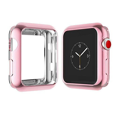 Chrome TPU Case W/Corner & Edge Protection by Tech Express for Apple Watch Series 1, 2 & 3 Cellular LTE/GPS [iWatch Cover] Bumper Smooth Gel Skin Protective Shockproof Protection (38mm, Rose Gold)