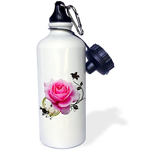 "3dRose wb_102674_1″Steampunk Design Pink Rose and Clock Design"" Sports Water Bottle, 21 oz, White"