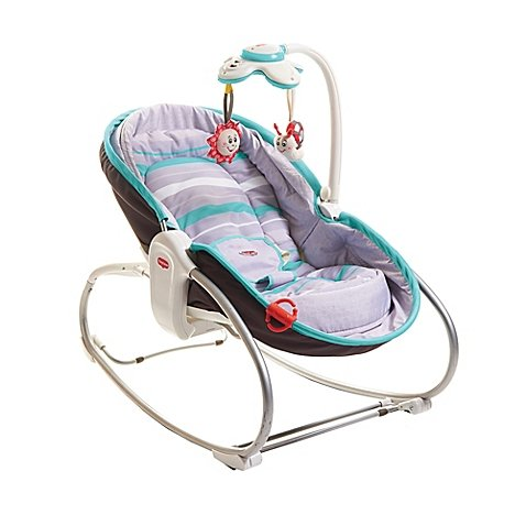 Maximize Comfort 3-point harness system 3 in 1 Convertible Rocker Napper in Color Brown/Turquoise by Tiny Love