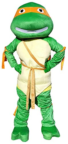 Ninja Turtles Michelangelo Orange Mascot Costume Adult Size For Birthday Girl or Boy Party Event Halloween