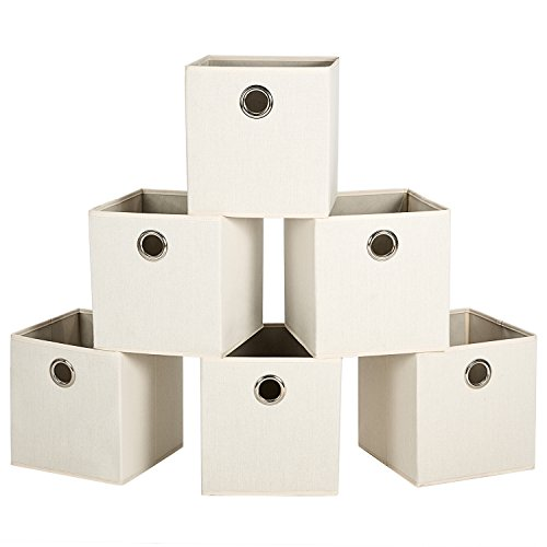MaidMAX Cloth Storage Cubes Bins Baskets Containers with Dual Metal Handles for Home Closet Nursery Drawers Organizers, Foldable, Beige, 10.5×10.5×11 inches, Set of 6 (Baskets With Small Handles Metal)