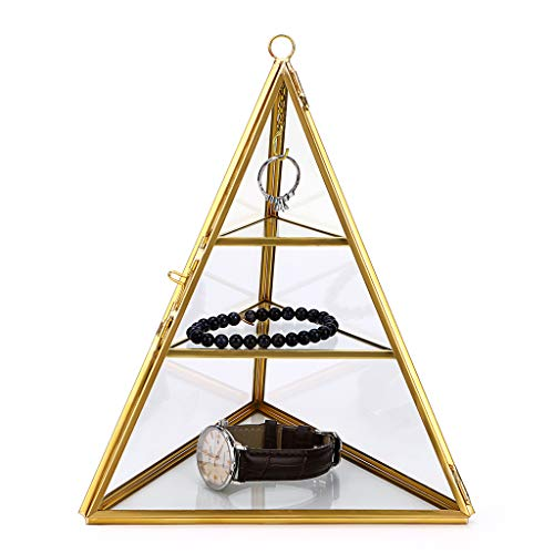 Hipiwe 3-Tier Glass Pyramid Jewelry Stand Holder - Geometric Ring Jewelry Display Organizer Case, Decorative Tower Box for Storage Trinket, Earring, Necklace, Bracelet