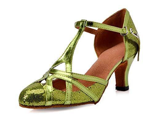 Minishion Women's T-Strap Green Glitter Salsa Tango Ballroom