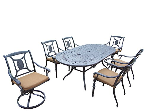 Oakland Living Victoria 7-Piece Set with 84 by 42-Inch Oval Table, 4 Chairs, 2 Swivel Rockers and Sunbrella - Victoria Chair Rocker Swivel