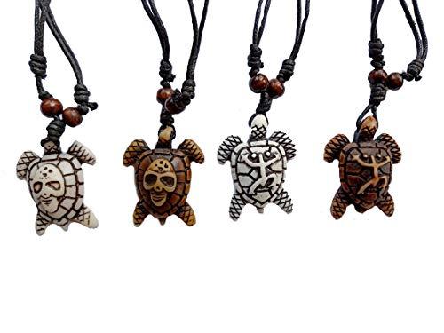 Askana 4pcs Fashion Cute Sea Turtle Pendant Necklace Set with Adjustable Cotton Cord (Set # 6) -