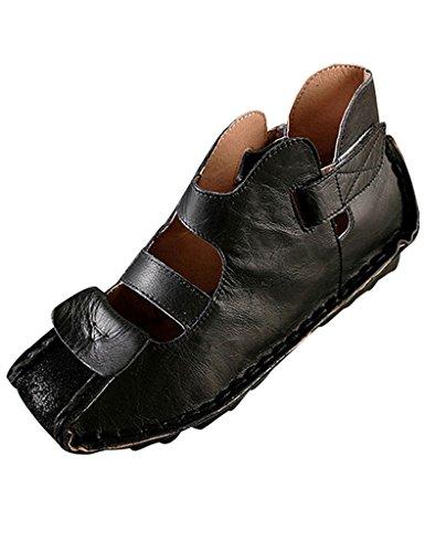 Youlee Vrouwen Zomer Leren Sandalen Schoenen Zwart