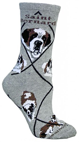 Saint Bernard Dog Gray Cotton Ladies Socks