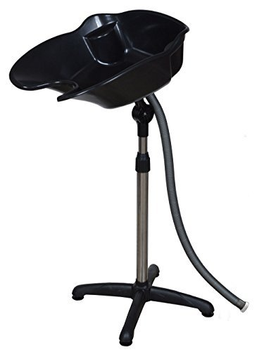 GHP Portable Adjustable Height Black Shampoo Basin Hair Swivel Bowl by Globe House Product