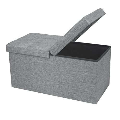 "Otto & Ben 30"" Storage Folding Toy Box Chest with SMART LIFT Top Linen Fabric Ottomans Bench Foot Rest for Bedroom and Living Room, 30x15x15, Light Grey"