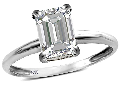 (Star K Classic Octagon Emerald Cut 8x6mm Genuine White Topaz Solitaire Engagement Promise Ring 10k White Gold Size 4)